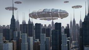 Ufo som svävar ovanför stad