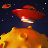 Ufo in space in cartoon style Royalty Free Stock Image
