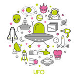 UFO and Space Thin Line Icons Set with Aliens and Flying Saucer Royalty Free Stock Photo