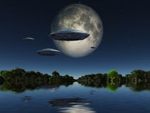 UFO. Spacecrafts flies over water surface. Full moon in the sky. 3D rendering Stock Photo