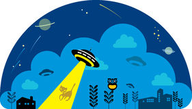 UFO spaceship attack the cat at night Royalty Free Stock Photo