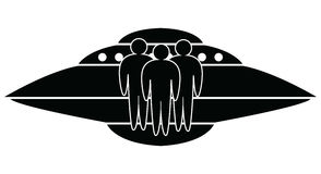 Ufo spaceship, vector. Black and white ufo spaceship and aliens, vector Stock Photos