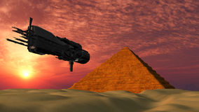 UFO Spaceship Flying towards a Pyramid - Fantasy Alien Illustrations Stock Photography