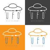 Ufo spaceship with fork and  , concept restaurant vector de Stock Photo