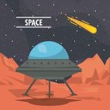 UFO spaceship on mars. Cartoon vector illustration graphic design Royalty Free Stock Photos