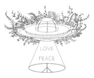 Free UFO Spaceship. Unidentified Flying Object With Light Beam, Flowers And Hippie Peace Symbol. Peace, Love Sign. Design Concept For T Stock Photography - 133439342