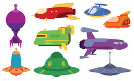 UFO spaceship vector set. Stock Photography