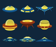 UFO spaceships vector flat icons set Stock Photos