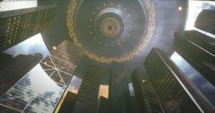UFO-Stadt-Wolkenkratzer-Invasion lizenzfreie abbildung