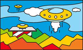 UFO stained glass pattern Royalty Free Stock Photography