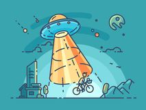 UFO steals man. Flying saucer takes guy on bike at night. Vector illustration Stock Photography
