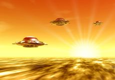 Ufo and sun Stock Images