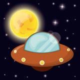 UFO with sun space orbit stock illustration