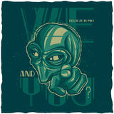 UFO t-shirt label design. With illustration of alien Stock Image