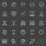 UFO and ufology line icons royalty free illustration