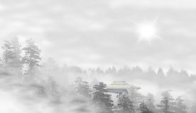 UFO in un paesaggio della foresta nebbiosa ad alba Fotografia Stock