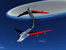 UFO und Flugzeug Stockfotografie