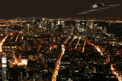 UFO over New York Royalty Free Stock Photo