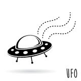 UFO (unidentified flying object). Flying saucer vector illustration. Royalty Free Stock Photos