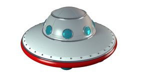 UFO. An unidentify flying object in retro toy style vector illustration