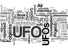 UFO-in Verbindung stehende Wortwolke Stockbilder