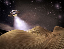 UFO visiting a planet 3D illustration.