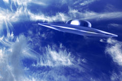 UFO vs  beautiful blue sky Royalty Free Stock Photo