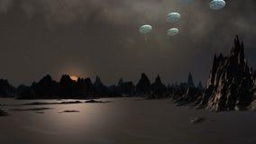 UFO w niebie fantastyczna planeta royalty ilustracja