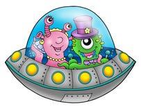 UFO wedding couple. Color illustration Royalty Free Stock Photography