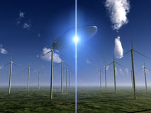 UFO And Wind Turbine. A UFO flying over a wind turbines farm Royalty Free Stock Photo