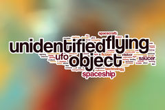 UFO word cloud with abstract background Stock Photos
