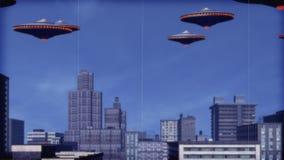 UFOarmada over van de binnenstad royalty-vrije illustratie