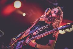 Ufomammut, Urlo live in concert 2017 doom metal. Ufomammut  is an Italian doom metal power trio formed in 1999 by guitarist Poia, bassist and vocalist Urlo, and Royalty Free Stock Photos