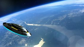 ufon flyger över jorden, abstrakt tolkning för bakgrund 3D Royaltyfria Bilder