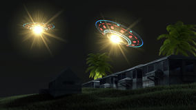 Ufos abducting a house Royalty Free Stock Photography