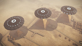 UFOs above Egypt Giza platform. A 3D rendered image of the Giza platform Egypt taken high from the sky. Above the monumental tombs and pyramids hoovering some stock illustration