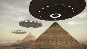 UFOs above Egypt pyramids. A 3D rendered image of the Giza platform Egypt. Above the monumental tombs and pyramids hoovering some futuristic UFOs vector illustration