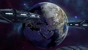 Ufos animati che volano alla terra chiarita 4K royalty illustrazione gratis