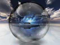 UFOs in clear sphere. High Resolution 3D Illustration UFOs in clear sphere Royalty Free Stock Images