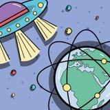 UFOs ed orbite geostazionarie intorno al pianeta della terra Immagini Stock