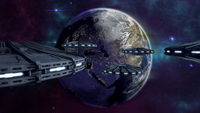 UFOs flying to enlightened city earth. An image of science fiction UFOs flying to the earth. An armada of futuristic spaceships in the galaxy heading to a city Stock Images