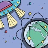 UFOs and geostationary orbits around earth planet. Vector illustration Stock Images