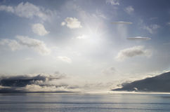 UFOs over the bay Stock Photos