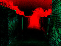 Ufos posteriori del alleyway Fotografia Stock Libera da Diritti