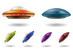 Ufos, unidentified flying objects. Colourful unidentified flying objects vector cartoons isolated royalty free illustration