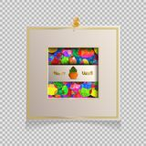 Ugadi 3D flyer. Happy Ugadi Festival. Indian Fest Party celebration. Spring New Year. Watercolor background with mandala. Template with text for creative flyer Stock Images
