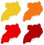 Uganda översikt - land i Öst-centralen Afrika vektor illustrationer