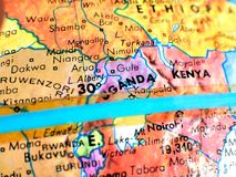Uganda Africa focus macro shot on globe map for travel blogs, social media, website banners and backgrounds. Uganda Africa focus macro shot on globe map for stock photo