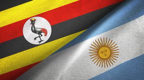Uganda and Argentina two flags textile cloth, fabric texture. Uganda and Argentina flags together textile cloth, fabric texture vector illustration