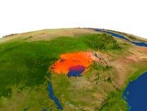 Uganda en rojo de la órbita ilustración del vector